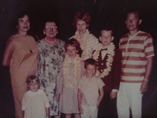 I'm the little one in front of my Mom and Tutu. My Aunty and cousins visiting Hawaii. My Dad on the end and my big brother in front.